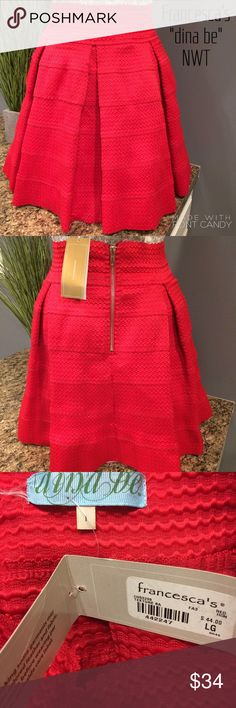 """Francesca """"Dina be"""" Red Skater Skirt So Pretty it's BNWT and is a stiff skirt that will stay in place while wearing, may not even touch you except for the waist  Big deep pleats going around it with a Big wide elastic waistband. It does have one side of tag that's come loose. It runs a little small and even though it says a size Large it would probably do best on a Small to Medium skirt person. I'm a 10 it fits me and my tiny mannequin the length is 18""""....bundle to save more plus ⚡️…"""