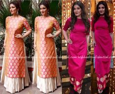Wearing silk outfits, Raveena attended two recent events. And while she wore both the lehenga and pink suit well, it was the former that stood out more. She looked absolutely lovely in it. P.S: The double-shaded kurta and ivory lehenga is by Warp n' Weft. She paired the outfit with jewelry from Aquamarine. Raveena Tandon …