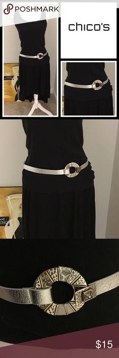 """• Chico's Silver Belt Excellent condition - one very small scratch on the back where you adjust it - see pic - can't see when wearing - measures up to 42"""" Chico's Accessories Belts"""