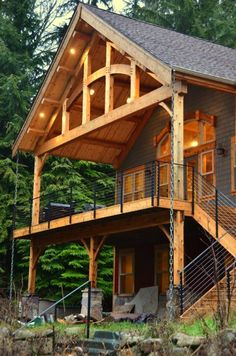 From Timbercraft Built for Life Cabin House Plans, Log Cabin Homes, House Deck, A Frame House, Timber Frame Homes, Pole Barn Homes, Cabins And Cottages, Future House, Building A House