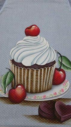 cris*****pinturas em tecidos Cupcake Painting, Cupcake Art, Cupcake Clipart, Decoupage Jars, Fudge Pops, Cupcake Collection, Cute Food Drawings, Wood Burning Crafts, Country Paintings