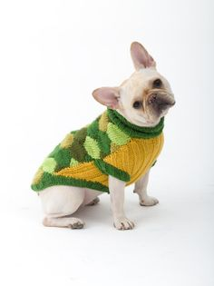 Turtle Dog Costume. Perfect for Halloween - this is one of our favorite doggie patterns. Make it with 5 skeins of Vanna's Choice in greens and yellows and size 9 knitting needles. #NationalDogDay