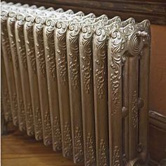 Idea for the cast iron steam radiators in our house. Steam Radiators, Old Radiators, Cast Iron Radiators, Shingle Style Homes, French Style Homes, Victorian Radiators, Painted Radiator, Steampunk Bedroom, Radiator Cover