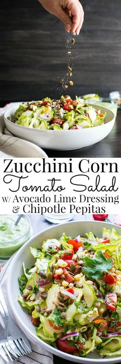 Zucchini Corn Tomato Salad with Avocado Lime Dressing| Vanilla And Bean