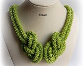Green beaded necklace Statement beadwork necklace Seed by Szikati