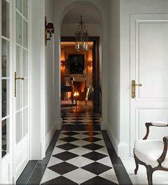 black & white floors, arched doorways
