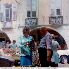 Julia Chuild and James Beard at the farmers' market in Grasse, France, early 1970s