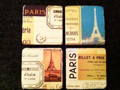 Paris theme beverage coasters by 5 Creations Handmade Decor