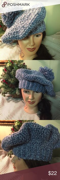 """Made by Donna Beret With Tassle on Top Slate Blue & Baby Blue Tweedy Cotton/Acrylic Blend, Banded Beret. Just a tad over 13"""" across in diameter. Hat has a band around it to cover your ears and large enough to stuff your hair into! Can be worn pushed forward, to the side or towards the back. Crocheted by me, Donna La Boutique Garage Accessories Hats"""