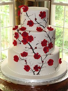 red  white wedding cake, love this!!