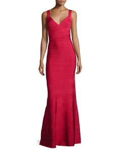 Deep V-Neck Bandage Gown, Red by Herve Leger at Neiman Marcus.