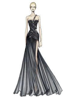 Atelier Versace Spring 2009  Black silk chiffon and organza evening dress Pleated organza bands with crinoline and crystal mesh tubes create the graphic contours of the bustier