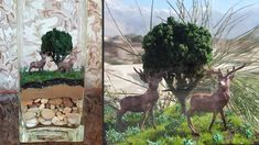how to make landscape diorama Acrylic Colors, Diorama, Terrarium, Giraffe, Make It Yourself, Landscape, How To Make, Terrariums, Felt Giraffe