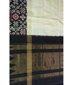 Off White Handloom Ikkat Pochampally Silk Saree