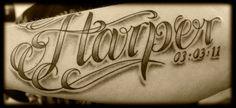 Custom Lowrider Style Script Lettering Font Inner Arm Tattoo