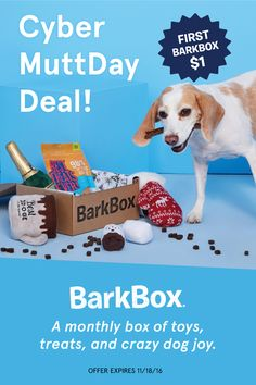 Cyber Muttday deal! Get your first box for $1. To redeem, click through this pin and sign up for a 6 or 12 month plan (offer expires 11/18/16). BarkBox is a monthly themed box of fun toys and all-natural treats and chews for your pup.