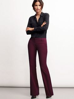 """The Kate Flare Pant in Seasonless Stretch at VS. 34"""" or 36"""" inseam. Flare Leg Pants, Stretch Pants, Tall Pants, Victoria Secret Outfits, Clothing For Tall Women, Slim Fit Trousers, Sexy Bra, Business Outfits, Women Lingerie"""