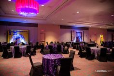 """The Linen Hero by Chair Covers and Linens Charcoal sequined """"Hollywood"""" and purple """"Dingleball"""" table linens brought the room to the next level alongside the Ruched black chair covers. — at MotorCity Casino Hotel."""