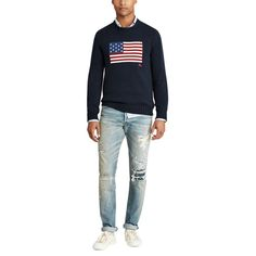 Shop the men's The Iconic American Flag Sweater at the world of Ralph Lauren. Browse our designer men sweaters today. Cotton Sweater, Men Sweater, American Flag Sweater, Polo Ralph Lauren, Mens Big And Tall, Bleu Marine, Sweater Outfits, Pulls, Active Wear
