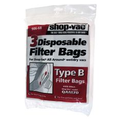Shop-Vac Disposable Filter Bags for All-Around Wet/Dry Vacuums - 3 Pack - 2911-7462