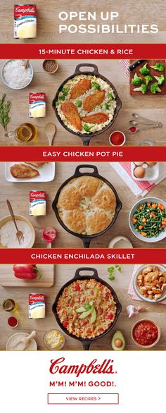Who would guess Campbell's Condensed Cream of Chicken soup recipes are so versatile! It forms the base for these great tasting recipes. Surprise your family and expand your recipe repertoire by adding a different dinner to your menu each week.