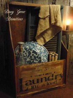 ANTIQUE PRIMITIVE GENERAL STORE WOOD CRATE *UPCYCLED LAUNDRY WASH DAY GATHERING