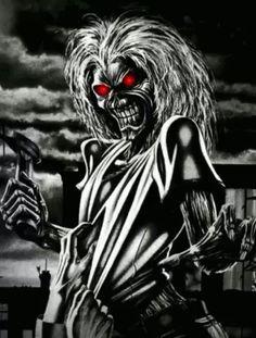 Iron Maiden , The Memories & The Music Heavy Metal Art, Heavy Metal Bands, Heavy Metal Tattoo, Doom Metal Bands, Dark Fantasy Art, Dark Art, Rock And Roll, Iron Maiden Mascot, Iron Maiden Posters