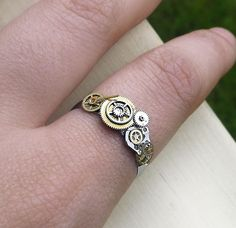 Steampunk ring, stainless steel unisex steampunk ring, watch gear ring, silver, bronze and gold ring, OOAK. via Etsy