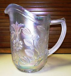 Vintage White Robin Carnival Glass 3 Pint Pitcher by Imperial Glass Company