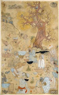 Party of Men Drinking in Landscape  Persian or, Safavid Period, about 1615  Attributed to Muhammadi Heravi  Iran  Dimensions  13.8 x 22.5 cm