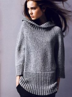 Ideas knitting pullover link for 2019 Winter Sweaters, Sweaters For Women, Sweater Coats, Grey Sweater, Handgestrickte Pullover, How To Purl Knit, Knit Or Crochet, Ravelry Crochet, Knit Fashion