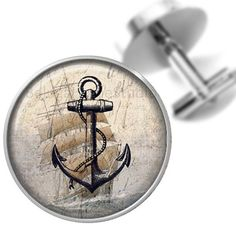 Anchor Cufflinks With Old Sailing Ship Background Cuff Links Groomsmen Wedding Party Fathers Dads Men