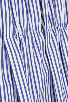 Victoria, Victoria Beckham - Gathered Striped Cotton Dress - Blue - UK12