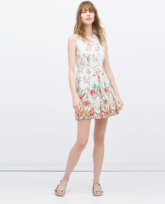 Printed dress with pleated pockets, sleeveless, floral, orange red green, $79.90 sale $59.99 | Zara