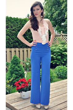High-Waisted Wide Leg Pants with Buttons