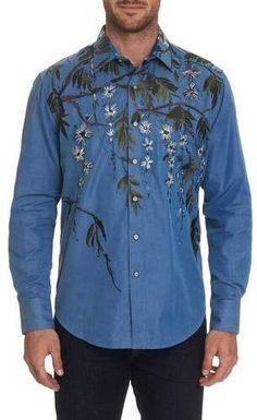 Robert Graham Men's Shangri-la Embroidered Sport Shirt In Size: Xs By In Blue Casual Button Down Shirts, Casual Shirts, Button Up Shirts, Sports Mix, Robert Graham, Shangri La, Sports Shirts, Colorful Shirts, Man Shop