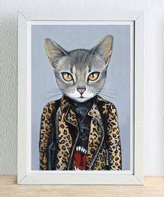 Framed Fine Art Print - Kat - Cats In Clothes by Heather Mattoon on Etsy, $30.00