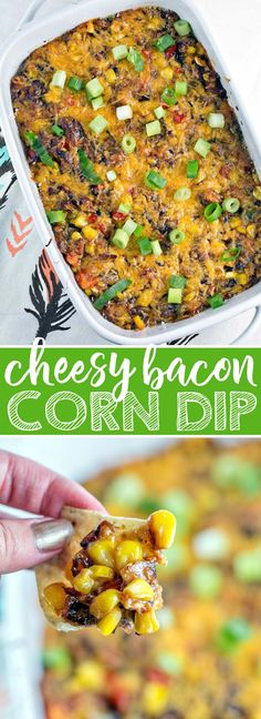 Cheesy Bacon Corn Dip: Perfect for game day or a party, this gluten free make-ahead dip is a crowd favorite! {Bunsen Burner Bakery} #dip #glutenfree #partyfood #tailgating #superbowl via @bnsnbrnrbakery