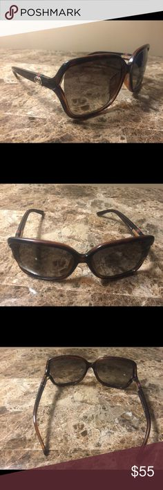 Authentic Gucci Sunglasses with case Gucci sunglasses. Brown with the red and green stripe logo on side. The lenses are scratched from being in my purse and will need a good scratch cleaner. Gucci Accessories Sunglasses