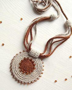 Flax Cotton Pendant and earrings Crochet Ornaments Etsy Crochet Necklace Pattern, Crochet Jewelry Patterns, Crochet Bracelet, Crochet Accessories, Bracelet Patterns, Crochet Earrings, Flower Earrings, Car Accessories, Crochet Ornaments