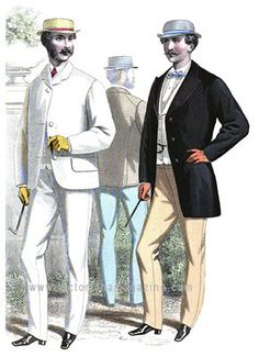 1867 A summer Victorian suit consists of a single-breasted frock coat with three holes and buttons. The sleeves have a short vent at the hands. A white drill collar vest and drab Angola trousers complete the costume. Victorian Mens Clothing, Victorian Era Fashion, Vintage Fashion, Mode Masculine, Estilo Dandy, Summer Suits, Summer Wear, Men Summer, Period Outfit