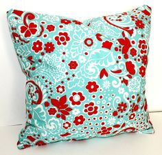 Teal Blue Red Honey Ikat Decorative Pillow Cover Accent Pillow
