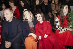 Attending the Gucci Fall Winter 2019 show, Chairman and CEO of Kering, François-Henri Pinault, Saoirse Ronan, Sinead Burke and Florence Clementine. Gucci Fashion, Fashion Show, Fall Winter, Leather Jacket, Florence, Alternative, Jackets, Dresses, Studded Leather Jacket