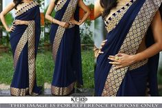 Blue georgette Saree with blue brocade border work To purchase this product mail…