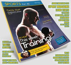 Plantilla InDesign CS3 para revista de deportes Word Line, Gym Routine, Interview, Editorial, News, Words, Life, Magazine Template, Cover Page Template