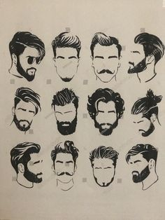 Mens Hairstyles With Beard, Cool Hairstyles For Men, Boy Hairstyles, Haircuts For Men, Beard And Mustache Styles, Beard No Mustache, Hair And Beard Styles, Curly Hair Styles, Gents Hair Style