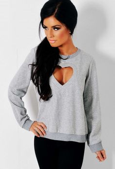 Heart and Soul Grey Heart Cut Out Sweater | Pink Boutique