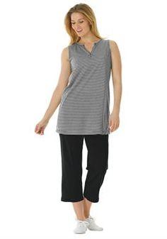 Plus Size Striped knit tunic and capri pants set #womanwithin #activewear