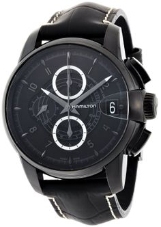 Hamilton Men's H40686335 Rail Road Black Chronograph Dial Watch Hamilton. $1569.00. Automatic movement. deployment-buckle-with-push-button. Black leather strap. Black dial. Water-resistant to 330 feet (100 M)