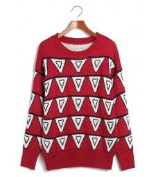 Woollen sweater featuring bunting pattern in contrast colors, with ribbed neckline, cuffs and hem, and a relaxed fit. Available in 2 colors. Bunting Pattern, Triangle Pattern, Red Jumper, Latest Tops, Christmas Sweaters, Winter Outfits, Men Sweater, Trending Outfits, Womens Fashion